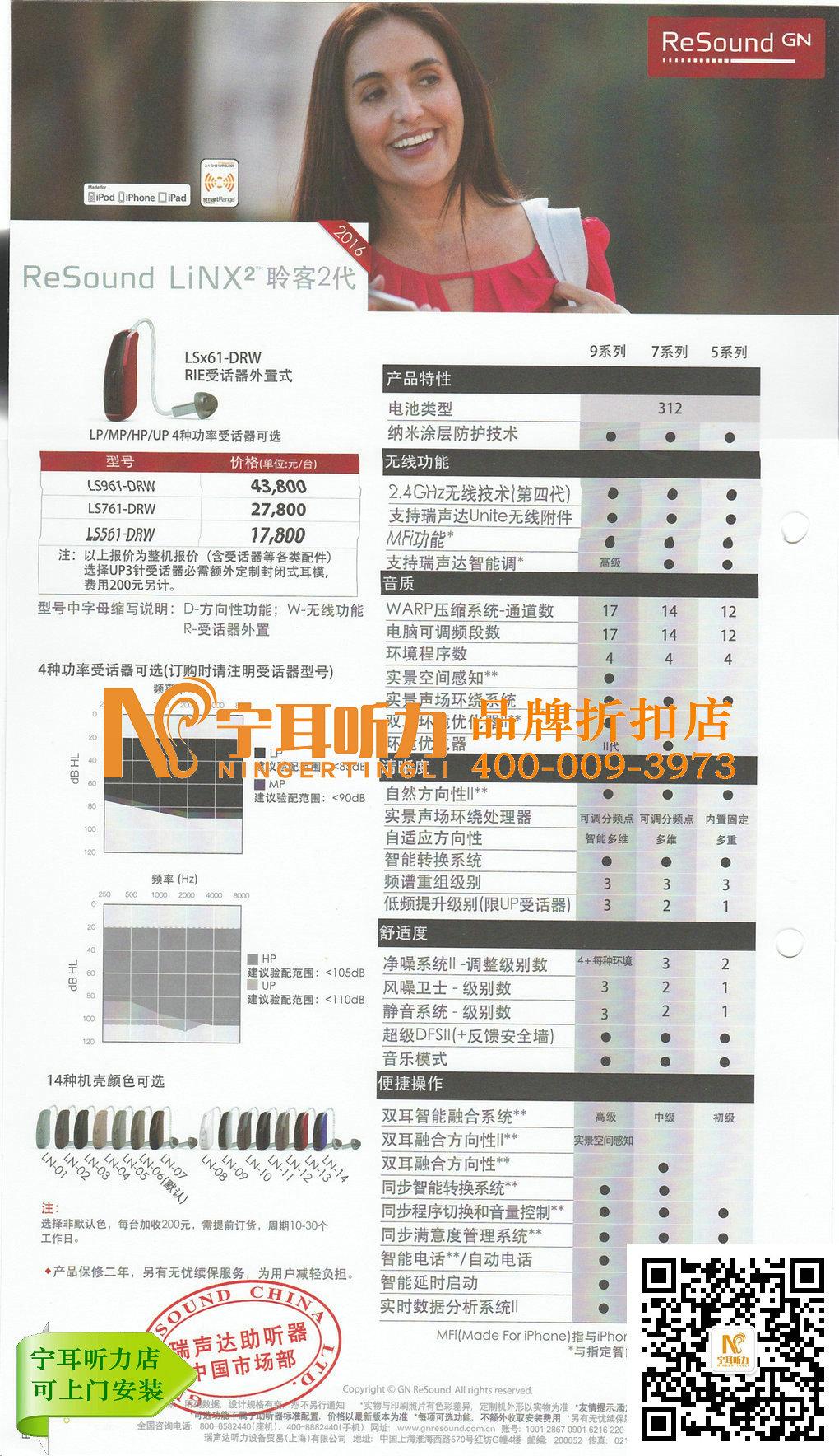 上海瑞声达聆客助听器lS561-DRW价格表,宁耳促销